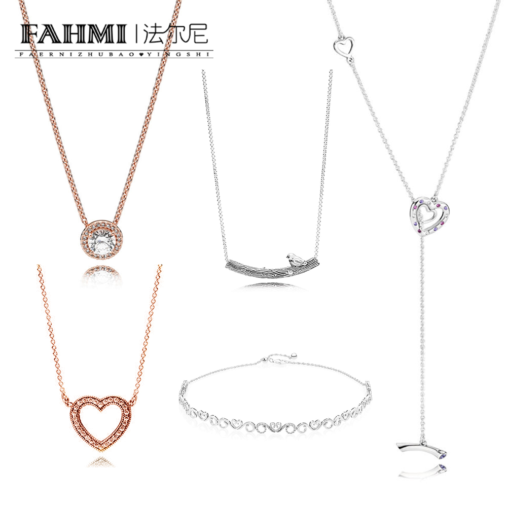 FAHMI 100% 925 Sterling Silver 1:1 Authentic Classic 397756NRPMX BRIGHT HEARTS NECKLACE Glamour Vintage Women Necklace JewelryFAHMI 100% 925 Sterling Silver 1:1 Authentic Classic 397756NRPMX BRIGHT HEARTS NECKLACE Glamour Vintage Women Necklace Jewelry