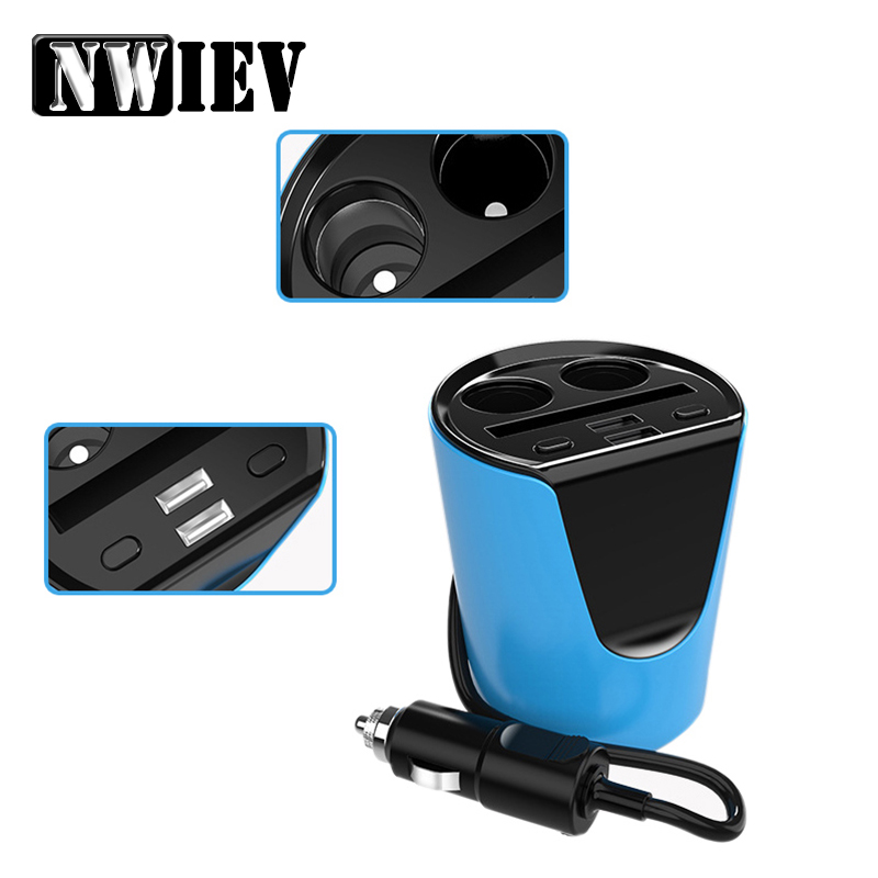 NWIEV 1x For Peugeot <font><b>207</b></font> 508 Mitsubishi ASX Audi A 4 Citroen C4 C5 BMW E60 Multi-function charger Cigarette Lighter Accessories image