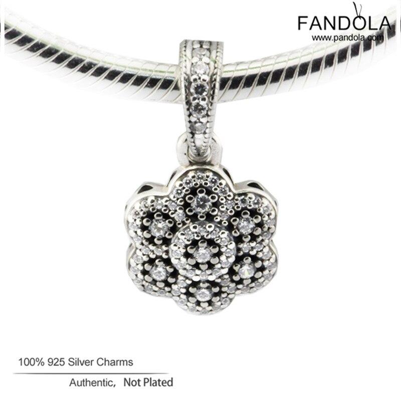 100% 925 Sterling Silber Crystallised Floral Anhänger Charms Perlen Für Schmuck Herstellung Passend Europa Charms Armband Halskette