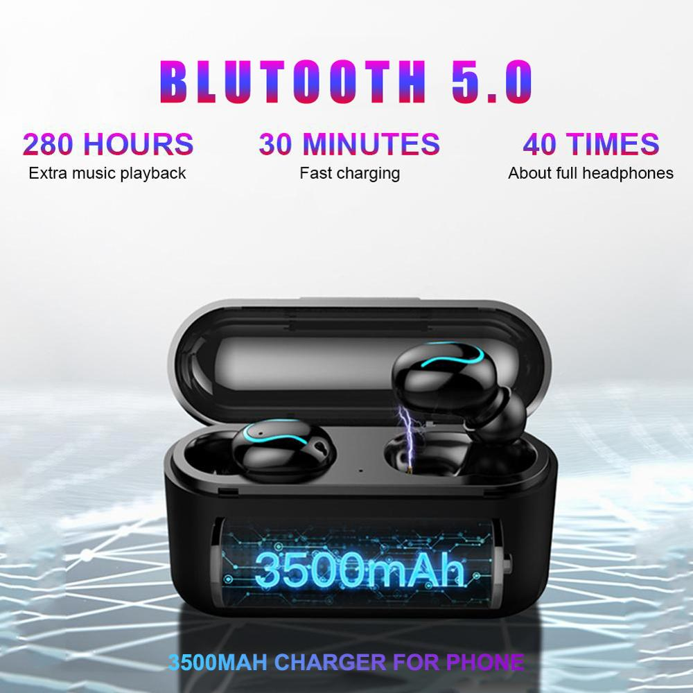 Bluetooth Earphones 5.0 Amoi Q32 Wireless Blutooth Headset Sport  8D Stereo Handsfree Earbuds With Mic Charging Box