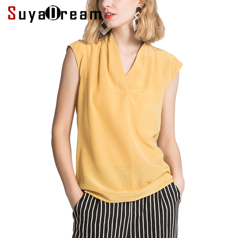 Women   Blouse   100% REAL SILK Crepe V neck Sleeveless   Blouse   Ginger Office Lady   Shirt   2019 Spring Summer   Blouse     Shirt