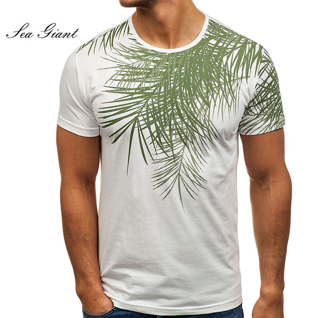 421ab76185b146 Summer Men 3d leaf Print T shirt Short Sleeve loose 2018 brand casual  Fitness tee Cotton T-shirt Men Hawaiian tops Cool Clothing
