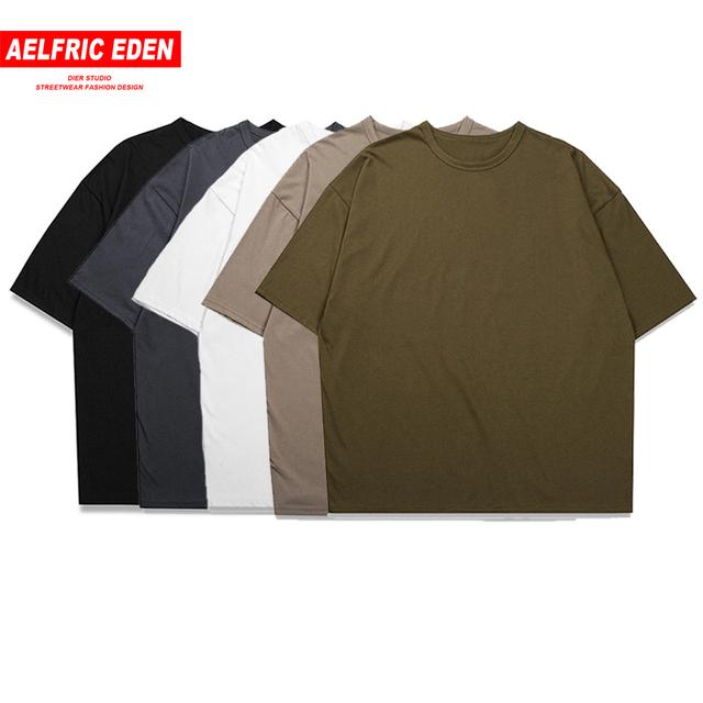 Aelfric Eden Wholesale Casual Oversized T shirt Men Women Streetwear Skateboard Top Tees Mens TShirt Simple Cotton BTS T-shirt
