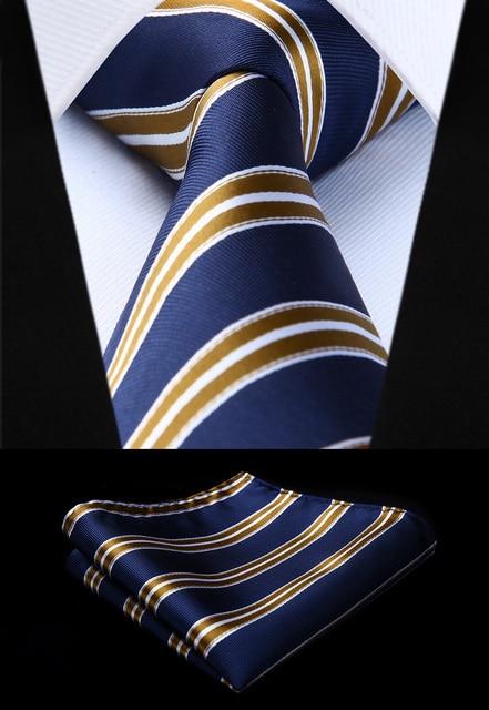 Woven Classic Tie Necktie Navy Blue Gold Striped 3 4 Silk Tie Party