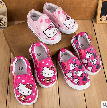 Autumn Girls canvas shoes for children four hello kitty Baby Shoes for girls free shipping
