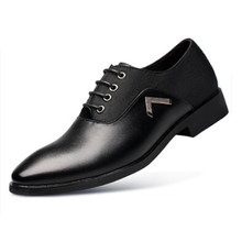 Men's shoes Leather Mens winter new pointed shoes Business dress lace young British leather casual shoes