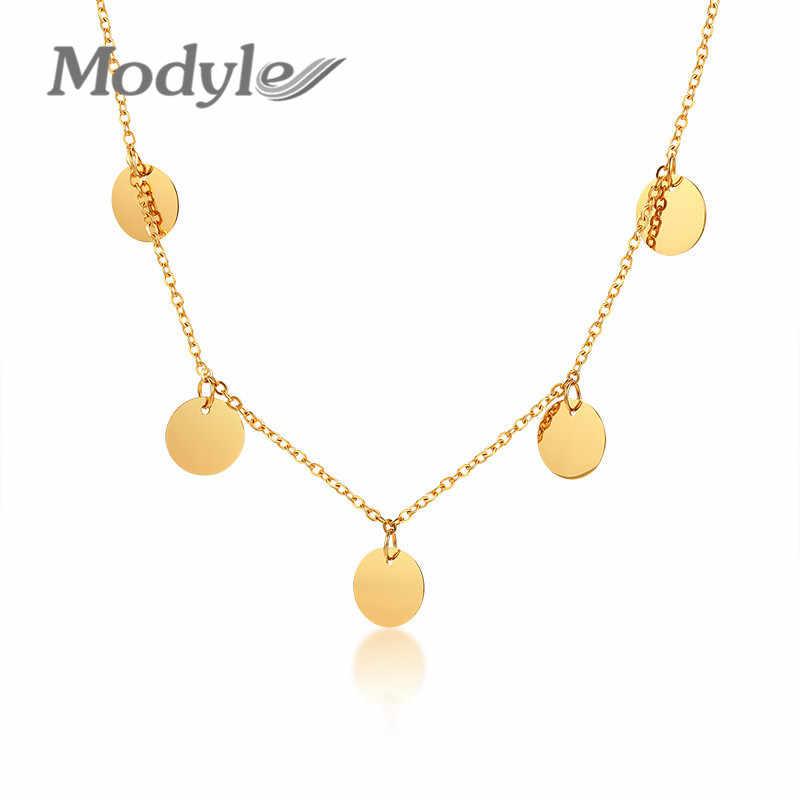 Modyle ใหม่แฟชั่น Gold Tone เหรียญ Choker สร้อยคอผู้หญิงสแตนเลส kolye colar อุปกรณ์เสริม