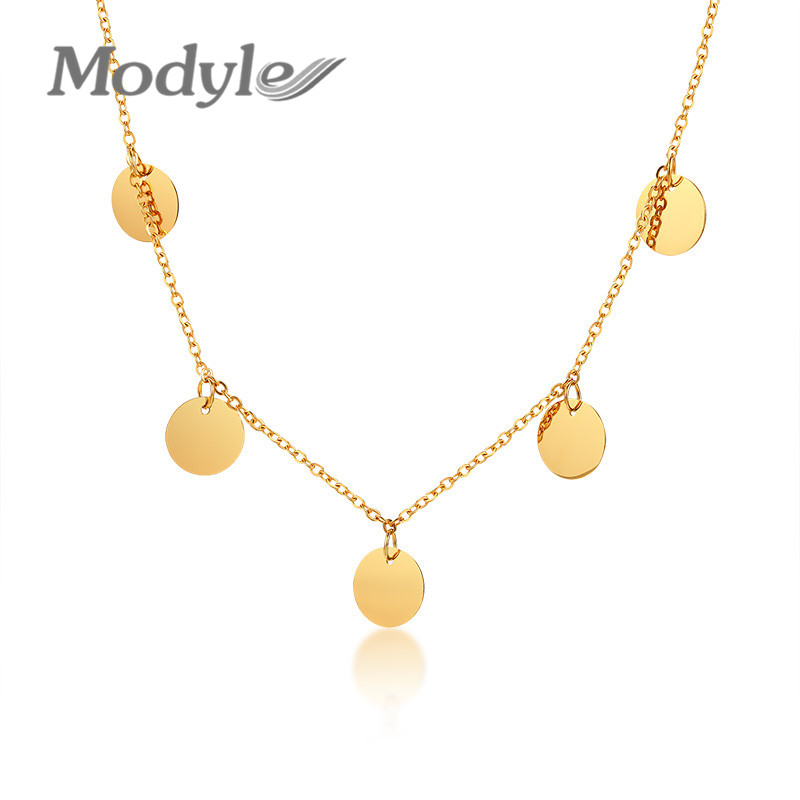 Gold Tone Coin Choker Necklace Women Stainless Steel Colar Accessories
