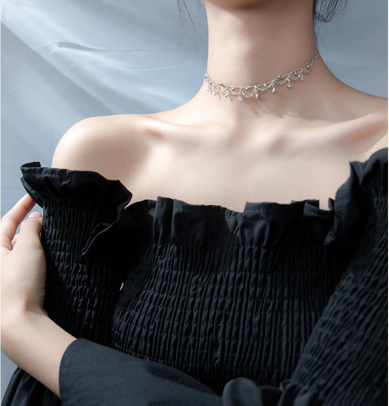 Choker Silver Pendants Necklaces 925 Sterling Silver Pendants Necklaces with Cubic Zirconia