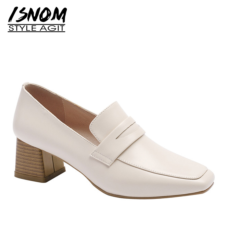 ISNOM Wood High Heels Pumps Women Square Toe Footwear Cow Leather Shoes Female Fashion Slip On