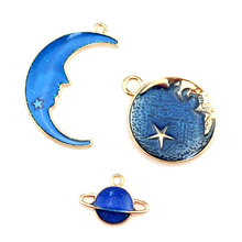 6X Blue Enamel Metal Moon Star Universe KC Gold Color Charms Girls Women DIY Necklace Pendant Jewelry Accessory Findings 10 mixed random color alloy enamel metal cat tree branches charms girls women diy necklace pendant fashion jewelry findings