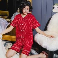 Fashion Dot Women Pajamas Set Japan Style Night Shirts Loose Nightwear Students Sleepwear Summer Autumn Home Wear Clothing