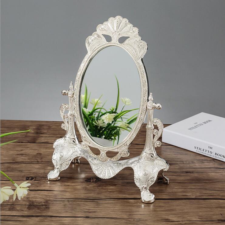 Ev ve Bahçe'ten Dekoratif Aynalar'de Avrupa 360 dönen gümüş/altın rengi masaüstü ayna makyaj masası aynası Düğün ev dekoratif aynalar büyük altın ayna J051'da  Grup 3
