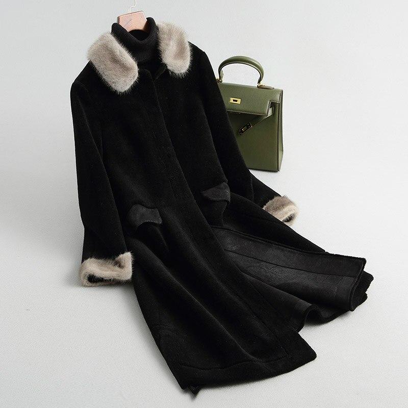 Col Luxe Véritable Manteau Nouveau Veste Longue Vison Femmes D'hiver Cisaillement Noir Mode Chaude De Réel Fourrure Z346 EFq4OqA