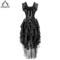 TOPMELON Corset Dress Steampunk Corset Bustier Gothic Corselet Corset Women Black Ruffle Lace Floral Lolita Mesh Long Maxi Dress
