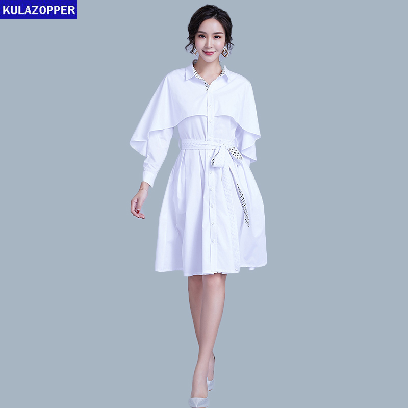 Windswear Femmes blue Couleur Robes 2019 white Printemps Zx110 Apricot Feuille Robe Bouton Nouvelle rangée Point Unique Kulazopper De Châle Vague Lotus drxtsQhC