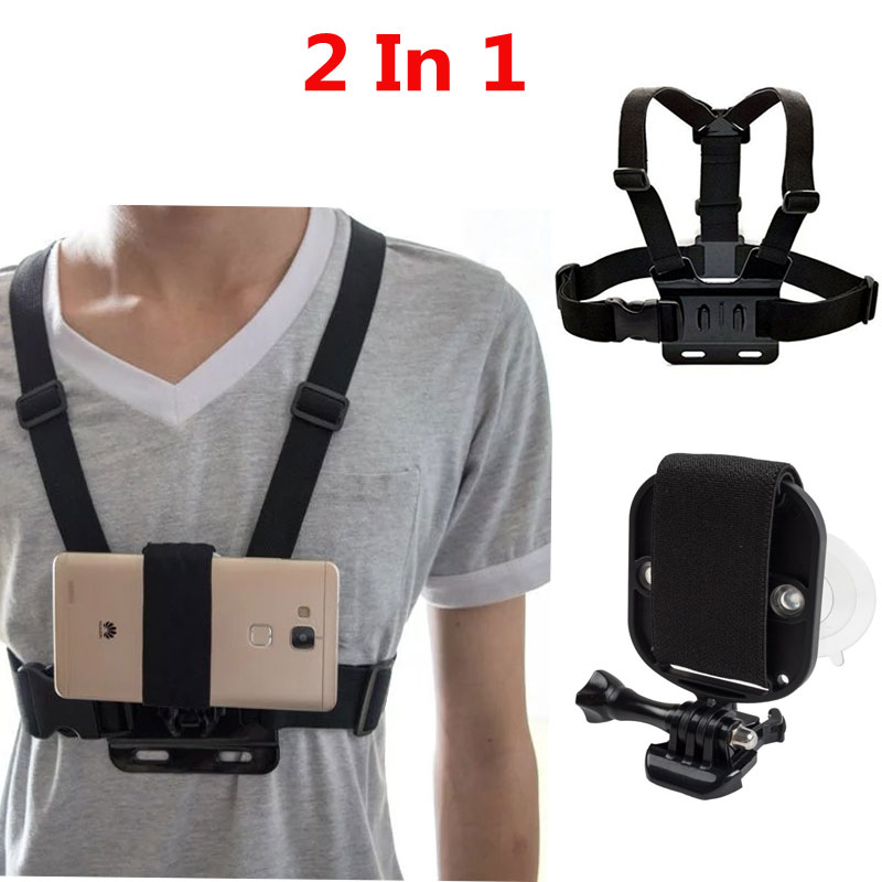 2in1 Universal Phone Strap for Head Strap Mount, Chest Belt Holder, Wrist Strap with Strong Suction Cup +Camera Chest Strap Belt cb 8008