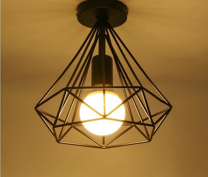 Retro E27 Track Light Spotlights Minimalist Led Ceiling: Modern Black Birdcage Ceiling Lights Iron Minimalist Retro