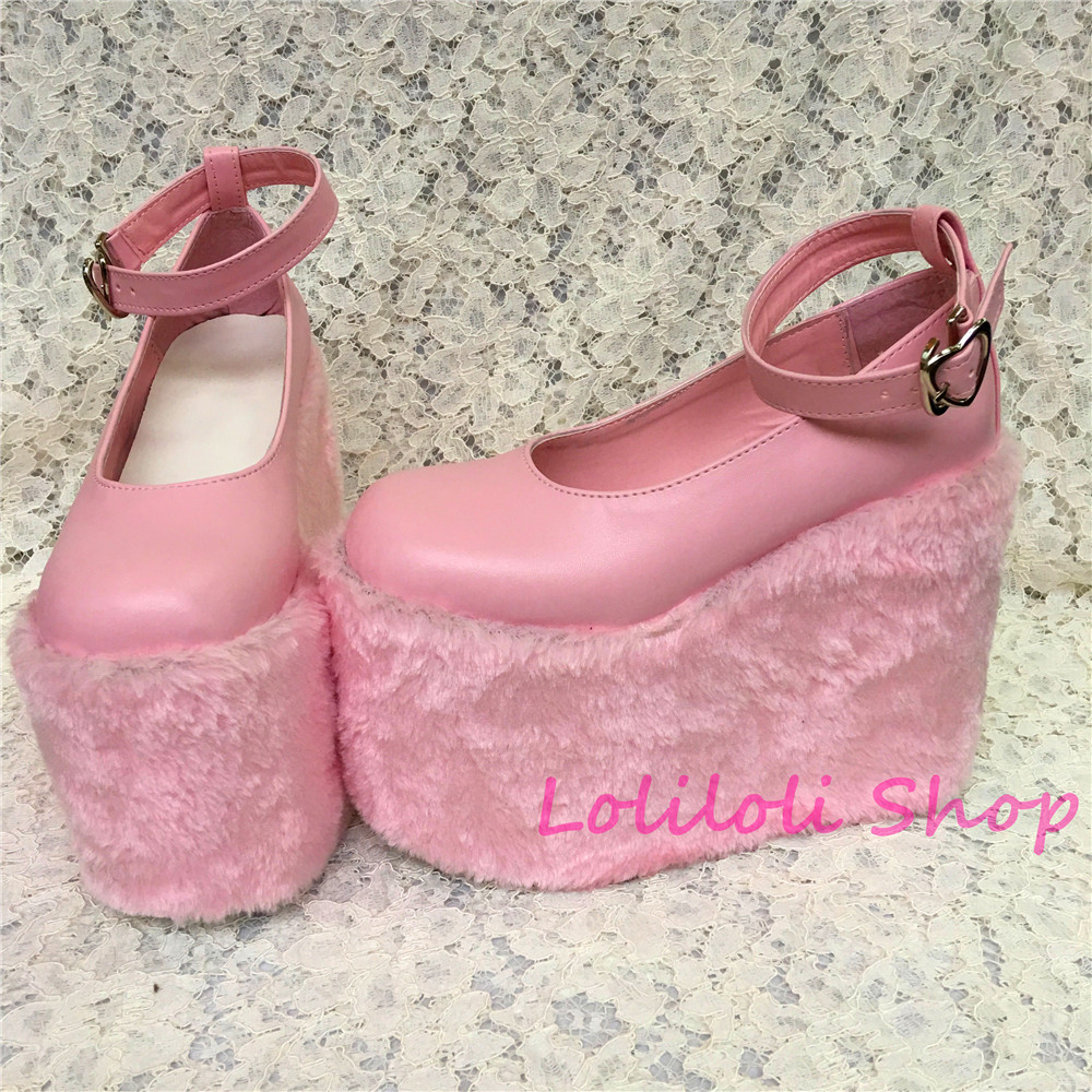 Princess sweet lolita shoes Lolilloliyoyo antaina Japanese design custom flat platform shoes with fur thick bottom 5236s купить