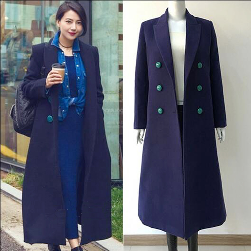 Womens Wool Coat 2016 New Winter Fashion Oversize Over Knee Navy