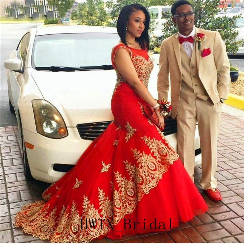 Modest Gold Lace   Prom     Dresses   2019 African Arabic Sexy Mermaid Red Long Formal Evening Gown Vestidos de fiesta Custom Made Cheap