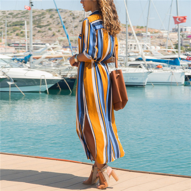2019 Turn Down Collar Office Ladies Stripe Shirt Dress Long Boho Beach Dress Casual Long Sleeve Elegant Party Dress Vestidos