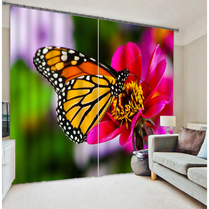 Colorful butterfly photo printing three-dimensional shade cloth curtainColorful butterfly photo printing three-dimensional shade cloth curtain