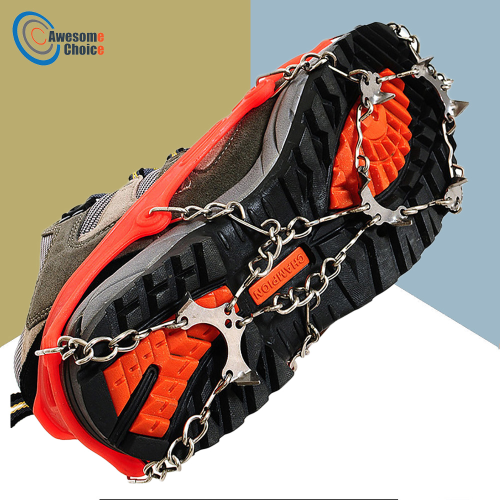 Outdoor Climbing Antiskid Crampons Winter Walk 8 Teeth Ice Fishing Snowshoes Heavy Duty Stainless Steel Slip Shoe Covers