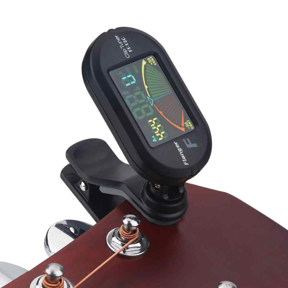 Flanger Clip on Chromatic Tuner use for Guitar,Bass,Violin,Ukulele with Colorful Display FT-12C