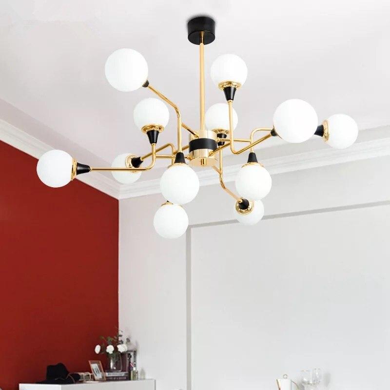 12 lamp head AC 220V retro modern LED chandelier simple gloss G9 indoor living room lighting kitchen restaurant lamps