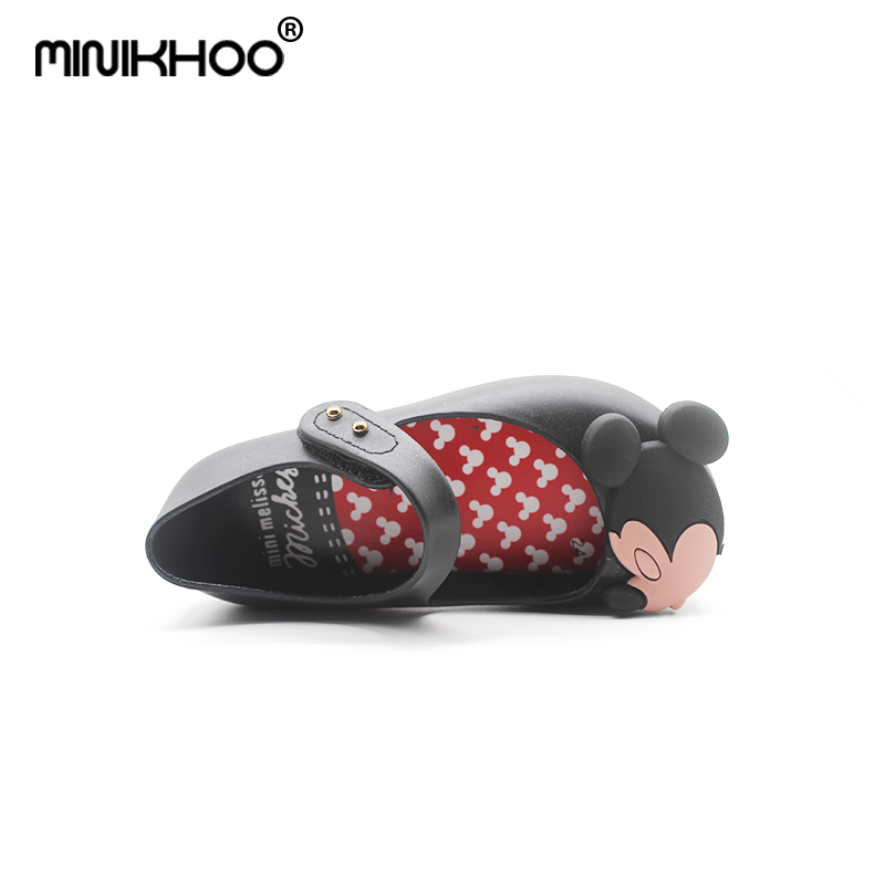 Mini Melissa 2018 Brazil New Jelly Shoes Mickey & Minnie Girls Shoes Crystal Mini Melissa Baby Jelly Sandals Shoes Non-slip