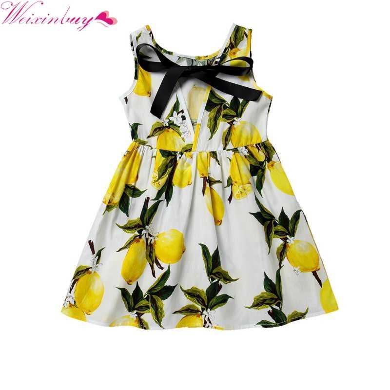 Детское летнее платье для девочек; милое детское платье из хлопчатобумажной смеси с принтом; Vestidos; детская одежда без рукавов для подростков