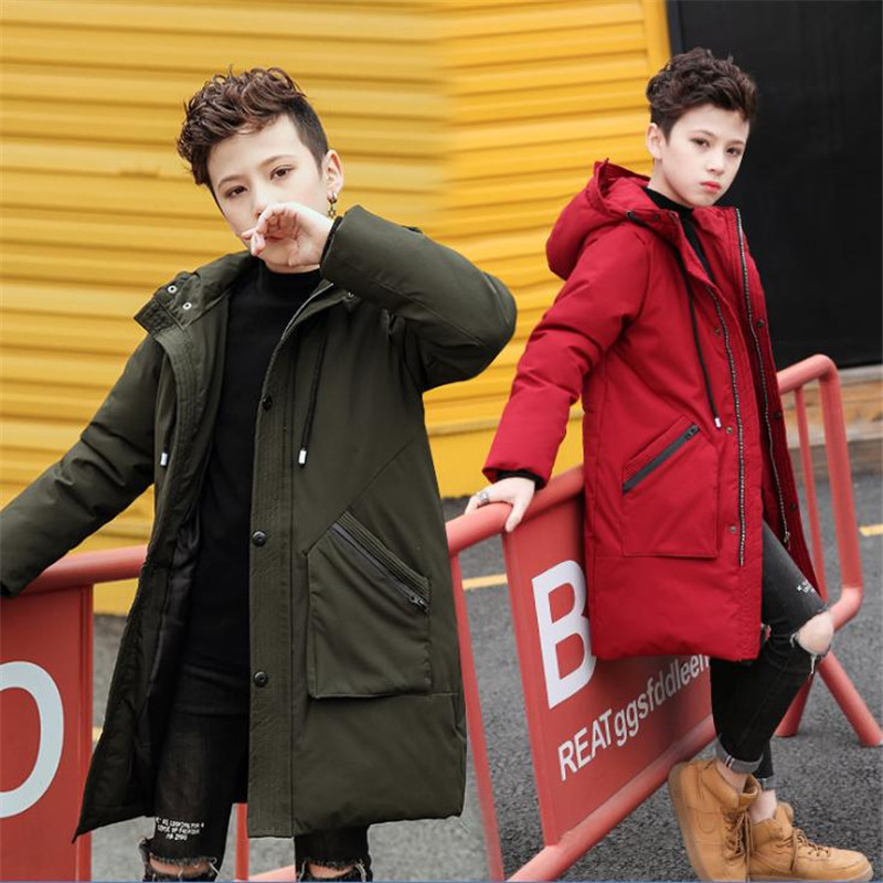 Boys' cotton coat 2018 new winter clothing Children's down jacket, long coat, children's wear, big boy, boy, cotton jacket