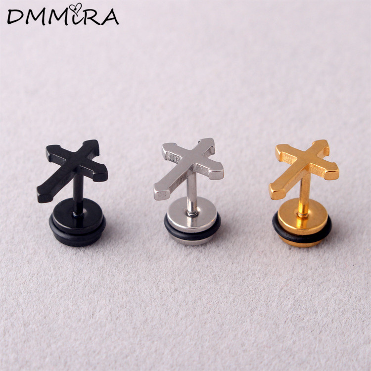 Fashion Women Men Punk Cross Color Gold Black Stainless Steel Girls Student Mini Cross Barbell Earrings Brincos Jewelry