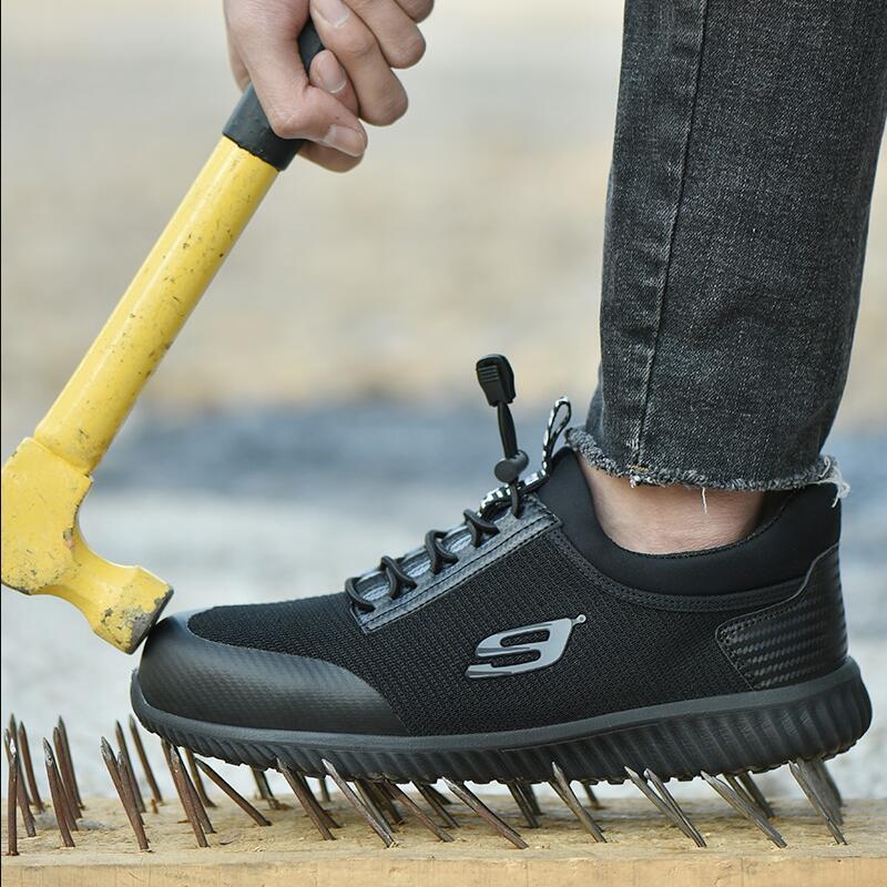 Sneakers Big Mens Sapatos Chegada Trabalho pierce Nova Cobre Anti Black white Size Sole Obras Do Que Botas Segurança Não Capas Sole Canteiro Biqueira De Aço slip Trabalhador qEP1x5Prw