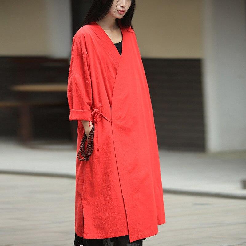 2018 printemps nouveau à manches longues Cardigan décontracté femmes vêtements Vintage Kimono lâche Blusa Feminina noir rouge bleu Vintage Blouse Robe