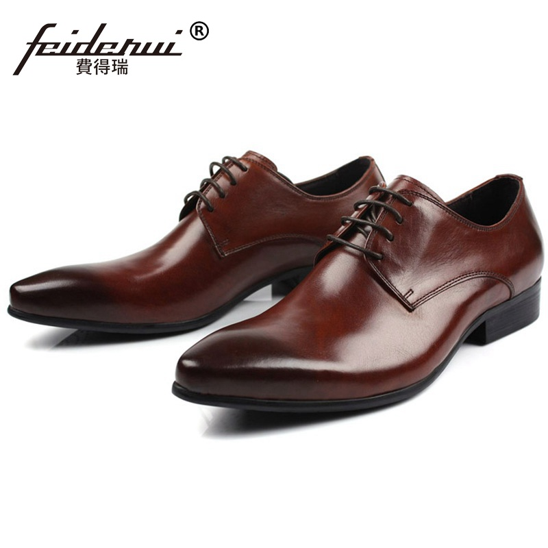2017 New Derby Pointed Toe Man Formal Dress Shoes Luxury Brand Genuine Leather Male Oxfords Men's Wedding Bridal Flats IH63 plus size 2016 new formal brand genuine leather high heels pointed toe oxfords punk rock men s wolf print flats shoes fpt314