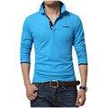 Camisa de polo dos homens 2017 nova primavera dos homens de alta qualidade sólida camisas de algodão da marca de moda roupas masculinas camisas de manga longa polo
