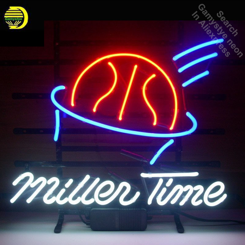 Miller Time Basketball Neon Light Sign Glass Tube neon lights Recreation Professiona Iconic Sign Beer Bar Pub sign board Lamps