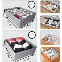 3pcs/lot 3 in 1 Bamboo Storage Box Container Drawer Divider Lidded Closet Boxes For Ties Socks Bra Underwear Organizer(China)