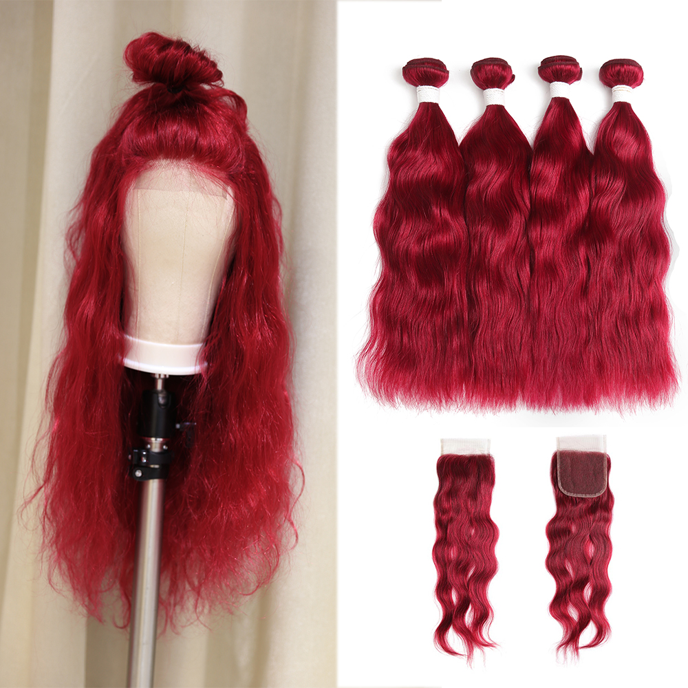 99J Burgundy Human Hair Bundles With Closure 4 4 Non Remy Red Color Brazilian Natural Wave