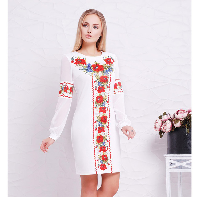2018 New Designer Women Dress O Neck Flower Casual Straight Full Sleeve Female Dresses Sexy Big Size 6XL  Ukrainian Vestidos 5