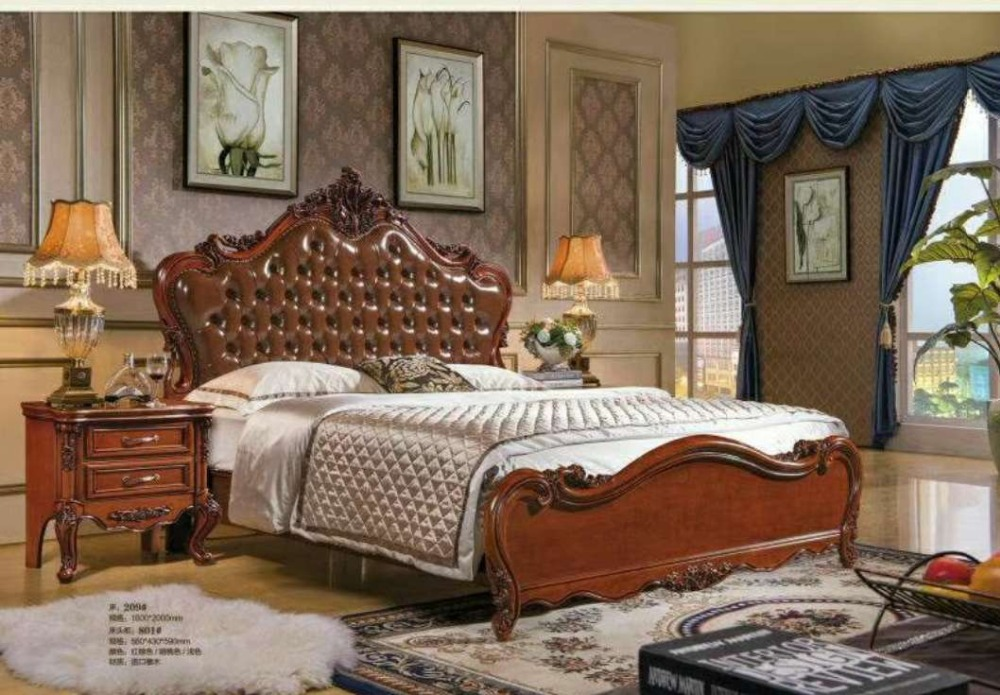 high quality bed Fashion European French Carved bedside set(bed +two nightstands +bench) cstm0089