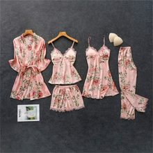 Women's Pajamas Set Silk Floral Overall Print 5Pcs Pajama Sets Satin Pyjamas Sexy Lace Pijama Nightie Sleepwear Home Clothes pjs(China)