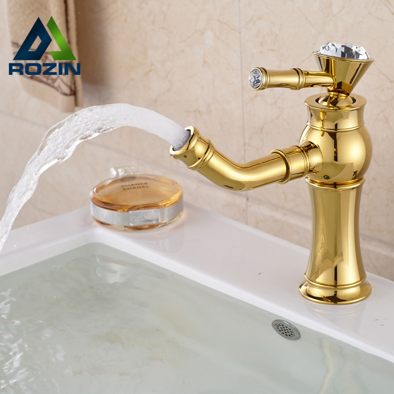 ФОТО Single Handle Golden Swivel Spout Basin Sink Faucet Deck Mount Brass Hot and Cold Water Taps One Hole