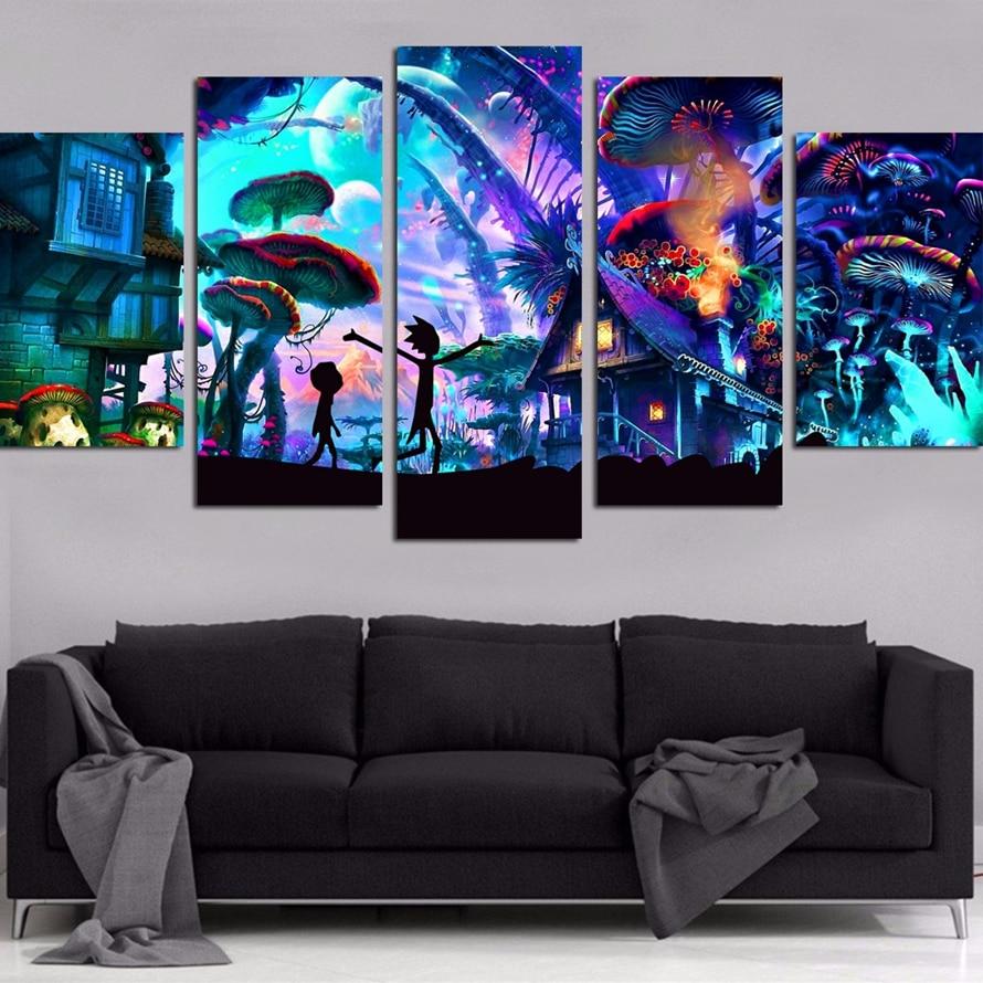 Canvas Wall Art Immagini Modulari Home Decor 5 Pezzi Rick E Morty Dipinti Soggiorno HD Stampato Manifesti Quadro di Animazione