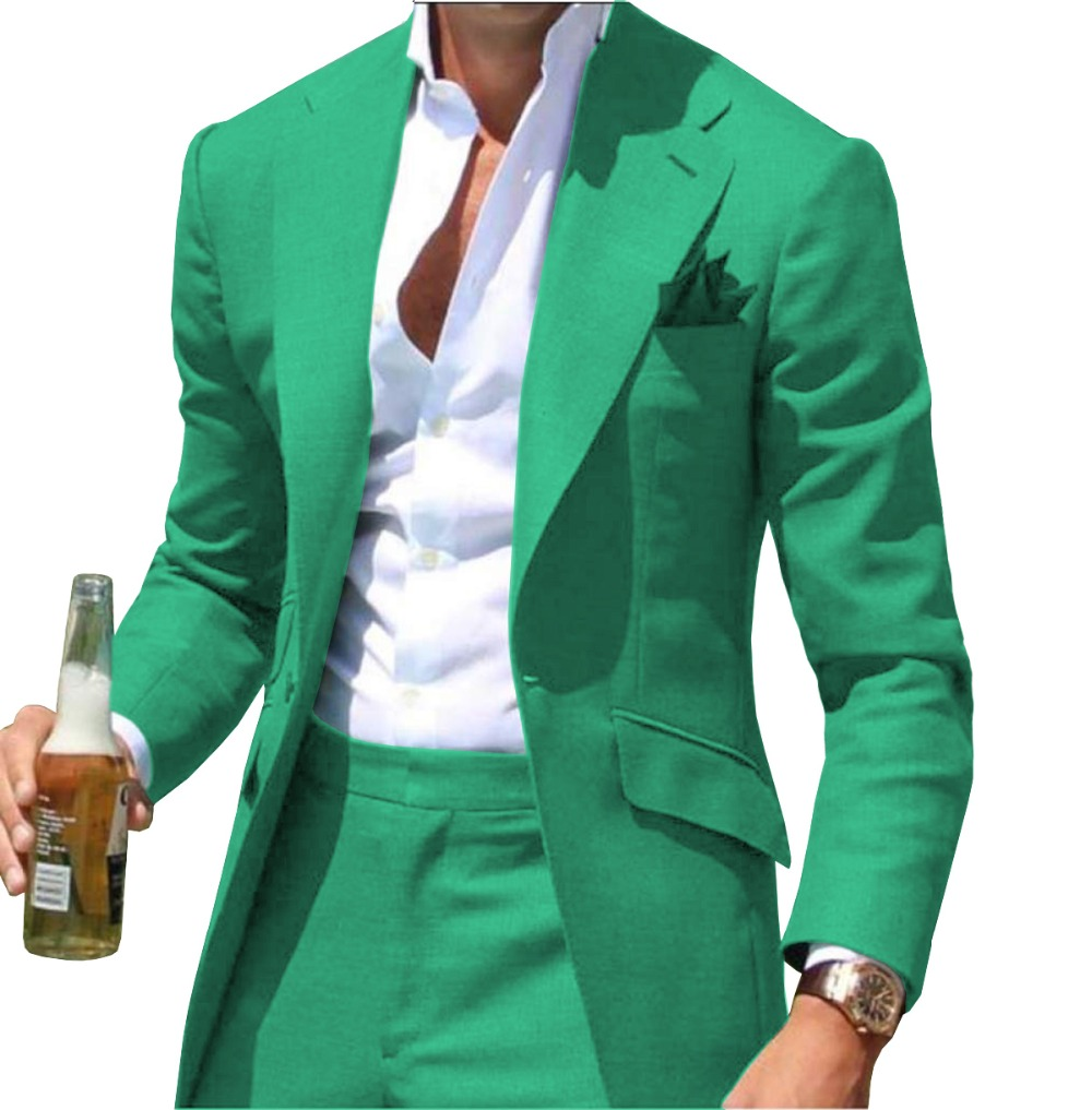 Causal Slim Fit Notched Label Green Mens Suit Blazer Formal Business For Wedding Groom