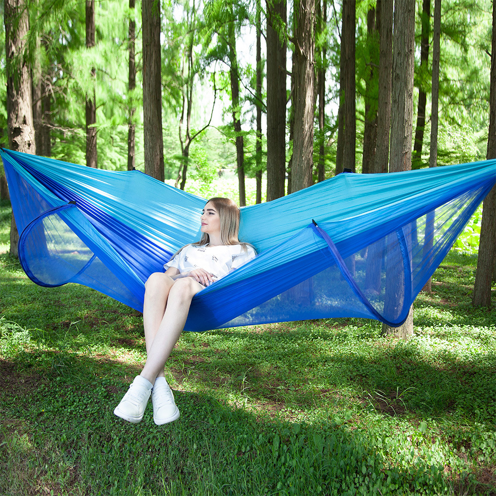 Automatic unfolding ultralight parachute hammock hunting mosquito net double lifting outdoor furniture hammock 250X120CMAutomatic unfolding ultralight parachute hammock hunting mosquito net double lifting outdoor furniture hammock 250X120CM