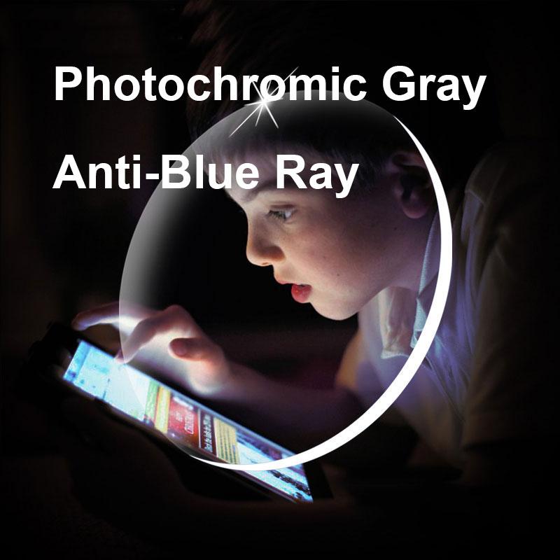 1,61 Photochrome-Grau Objektive mit Anti-blue Ray Schutz Optische Brillen Gläser Anti-reflektierende und Anti-glare