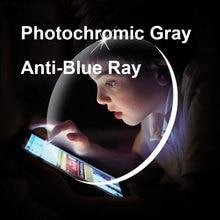 Lentilles photochromiques grises, avec Protection contre les rayons bleus, lunettes de Prescription optiques, anti réfléchissantes et anti éblouissantes, 1.61